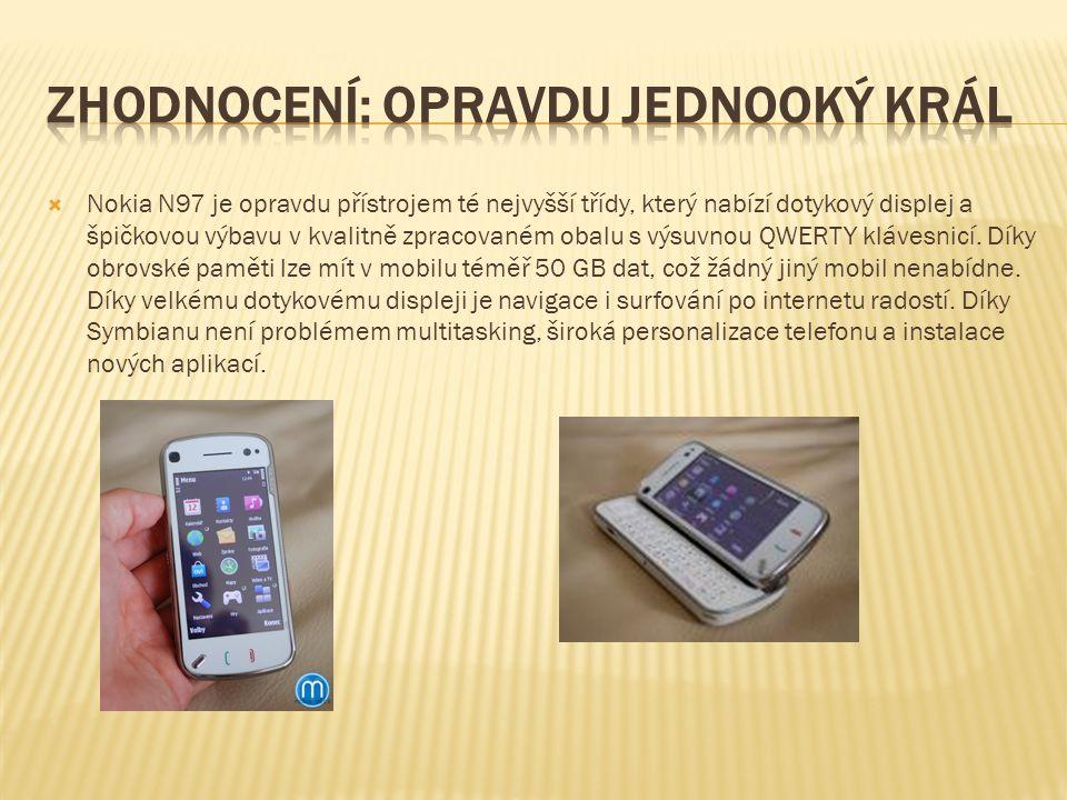  Nokia N97 je opravdu přístrojem té nejvyšší třídy, který nabízí dotykový displej a špičkovou výbavu v kvalitně zpracovaném obalu s výsuvnou QWERTY klávesnicí.