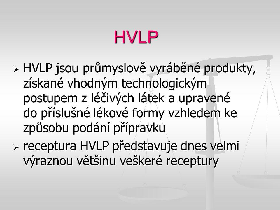 HVLP  HVLP jsou průmyslově vyráběné produkty, získané vhodným technologickým postupem z léčivých látek a upravené do příslušné lékové formy vzhledem