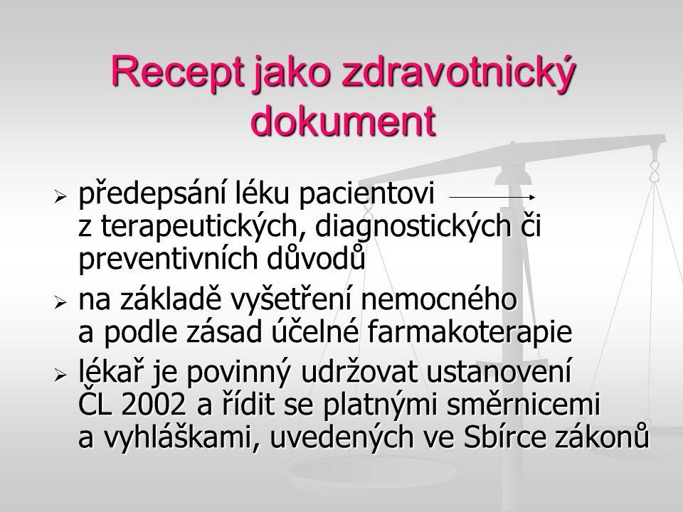 Recept jako zdravotnický dokument  předepsání léku pacientovi z terapeutických, diagnostických či preventivních důvodů  na základě vyšetření nemocné