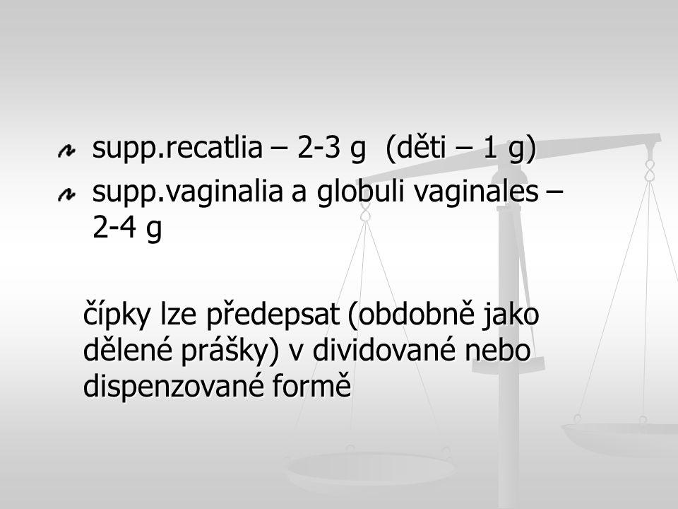 supp.recatlia – 2-3 g (děti – 1 g) supp.recatlia – 2-3 g (děti – 1 g) supp.vaginalia a globuli vaginales – 2-4 g supp.vaginalia a globuli vaginales –