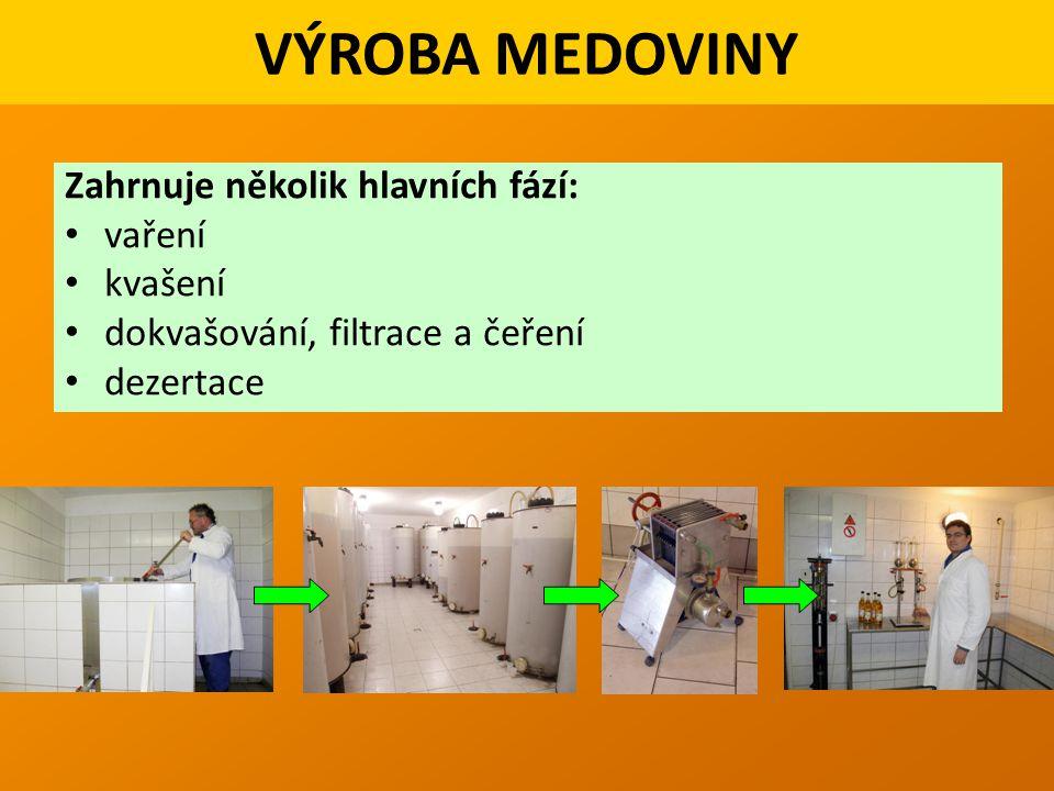 VÝROBA MEDOVINY Zahrnuje několik hlavních fází: vaření kvašení dokvašování, filtrace a čeření dezertace