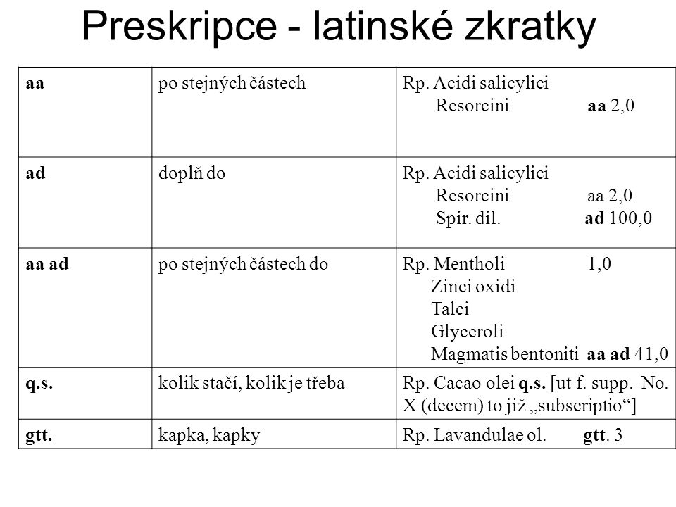 Preskripce - latinské zkratky aapo stejných částechRp.