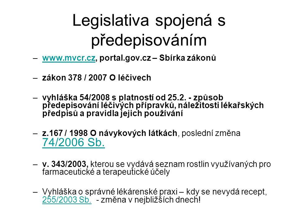 Legislativa spojená s předepisováním –www.mvcr.cz, portal.gov.cz – Sbírka zákonůwww.mvcr.cz –zákon 378 / 2007 O léčivech –vyhláška 54/2008 s platností od 25.2.