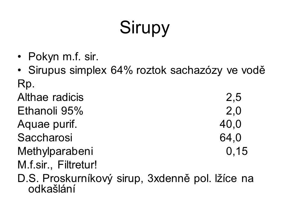 Sirupy Pokyn m.f.sir. Sirupus simplex 64% roztok sachazózy ve vodě Rp.