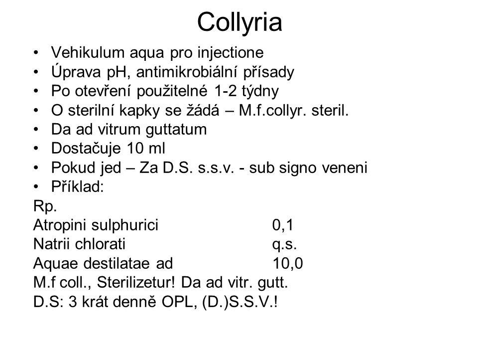 Collyria Vehikulum aqua pro injectione Úprava pH, antimikrobiální přísady Po otevření použitelné 1-2 týdny O sterilní kapky se žádá – M.f.collyr.