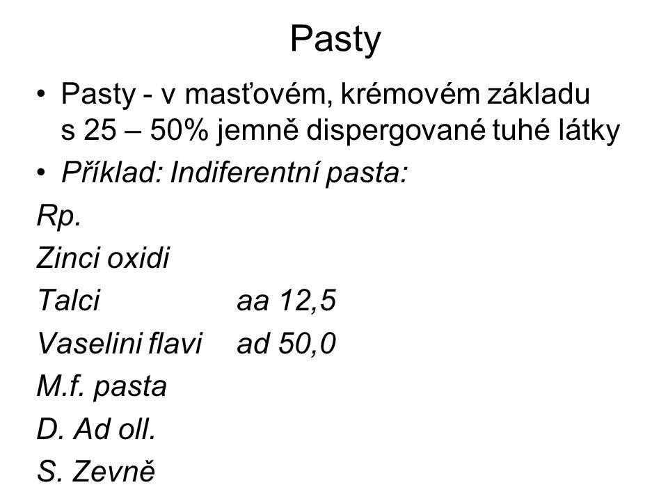 Pasty Pasty - v masťovém, krémovém základu s 25 – 50% jemně dispergované tuhé látky Příklad: Indiferentní pasta: Rp.