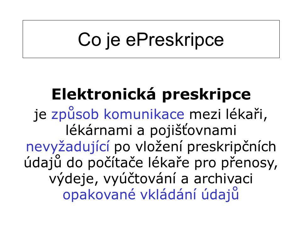 Co je ePreskripce Elektronická preskripce je způsob komunikace mezi lékaři, lékárnami a pojišťovnami nevyžadující po vložení preskripčních údajů do po