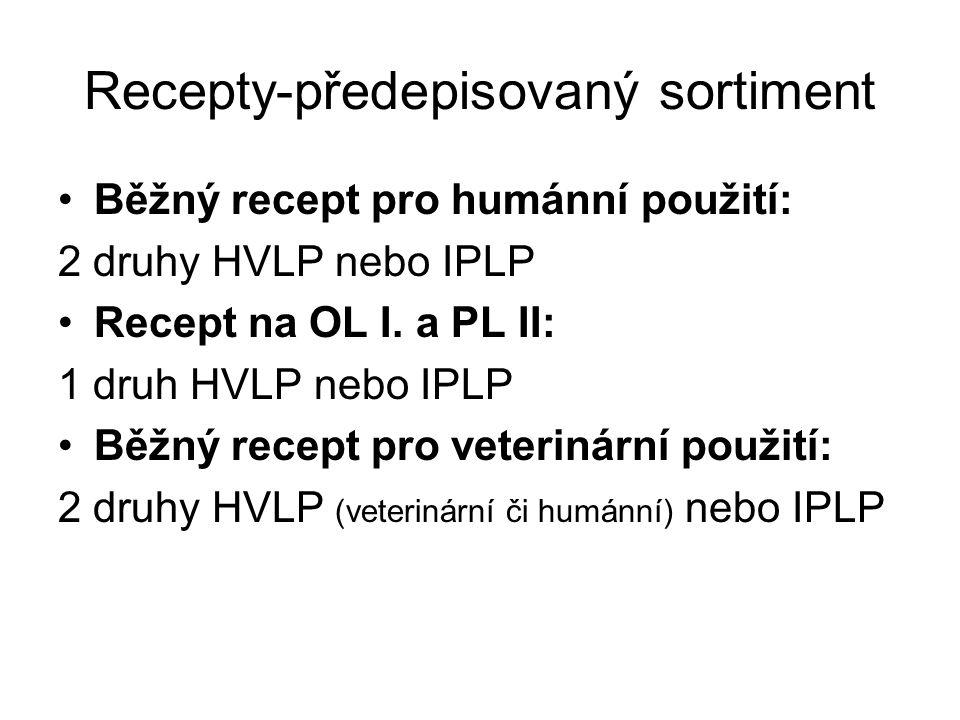 Recepty-předepisovaný sortiment Běžný recept pro humánní použití: 2 druhy HVLP nebo IPLP Recept na OL I. a PL II: 1 druh HVLP nebo IPLP Běžný recept p