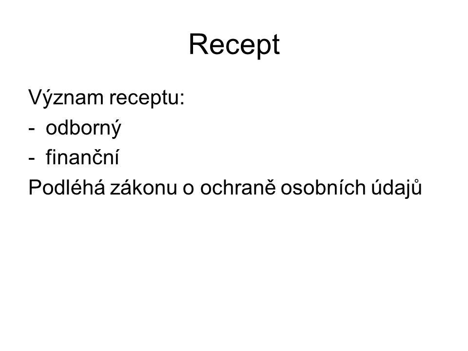 Recept Tradiční členění Rp: - Inscriptio, nomen aegroti -Praescriptio: Invocatio (Rp.