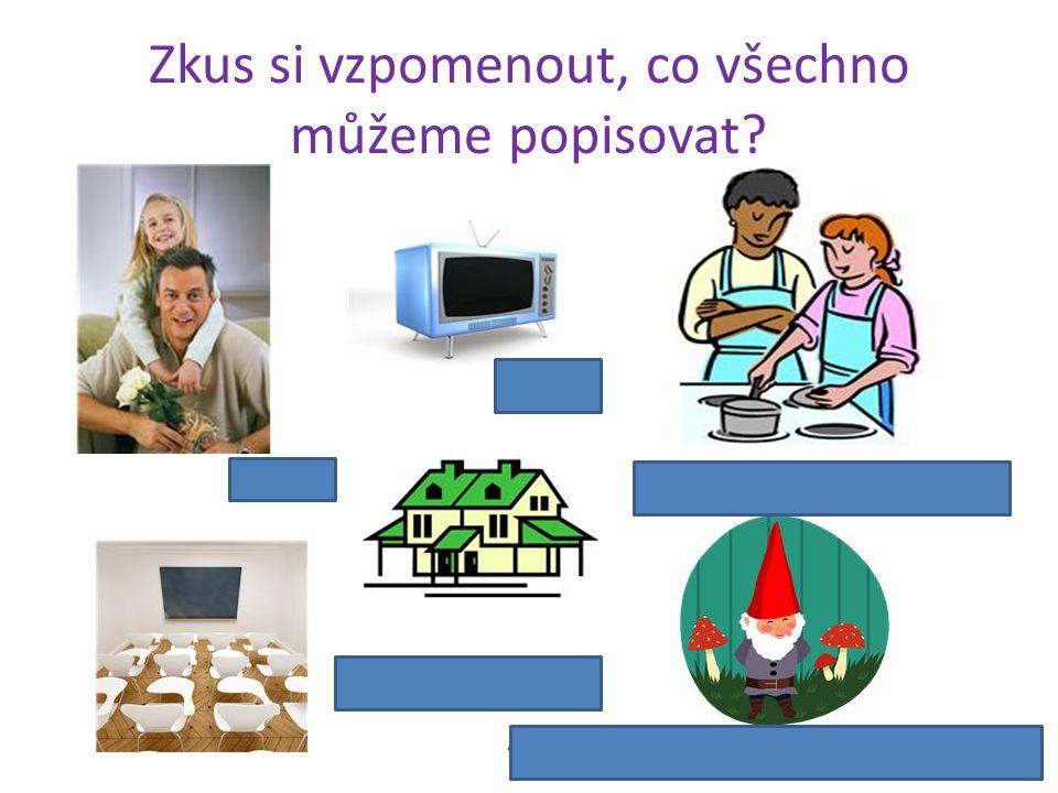 Zkus si vzpomenout, co všechno můžeme popisovat? osobu věc dům, byt, třídu činnost, pracovní postup filmovou nebo pohádkovou postavu