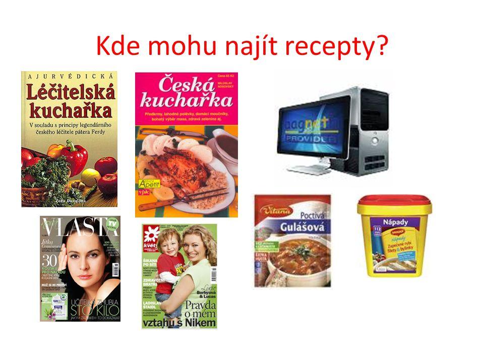 Kde mohu najít recepty?