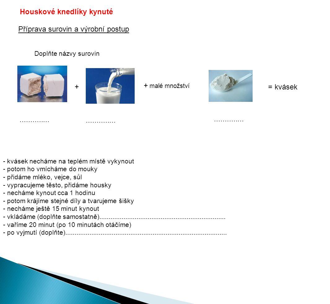 Houskové knedlíky kynuté Příprava surovin a výrobní postup = kvásek + + malé množství Doplňte názvy surovin..............
