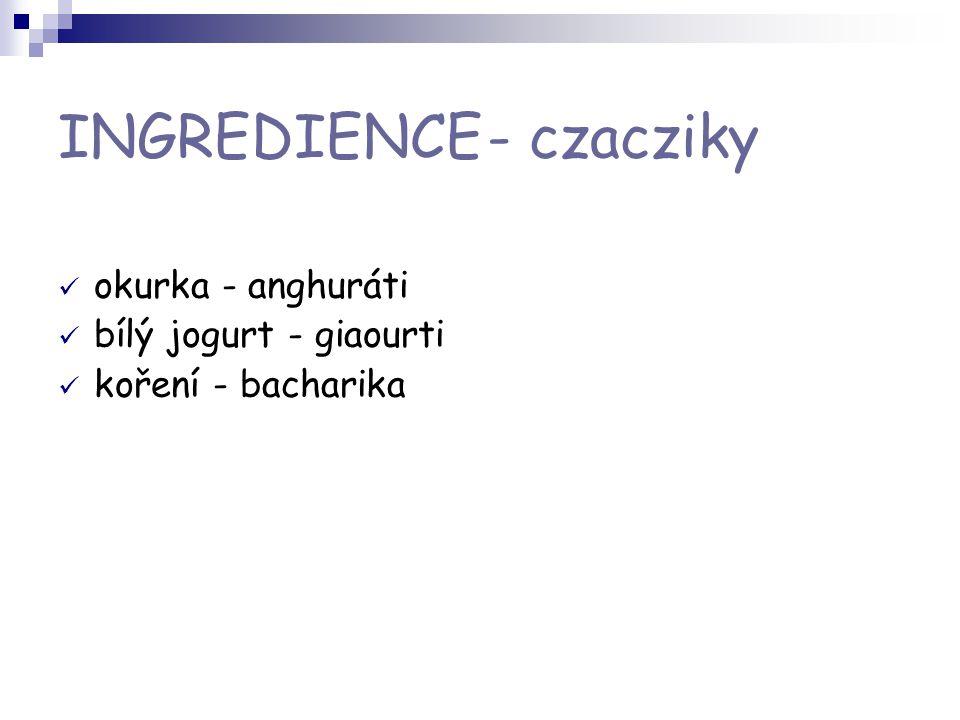 INGREDIENCE - czacziky okurka - anghuráti bílý jogurt - giaourti koření - bacharika