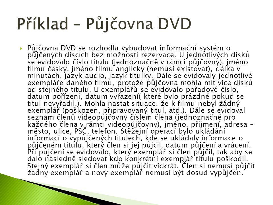  Půjčovna DVD se rozhodla vybudovat informační systém o půjčených discích bez možnosti rezervace.