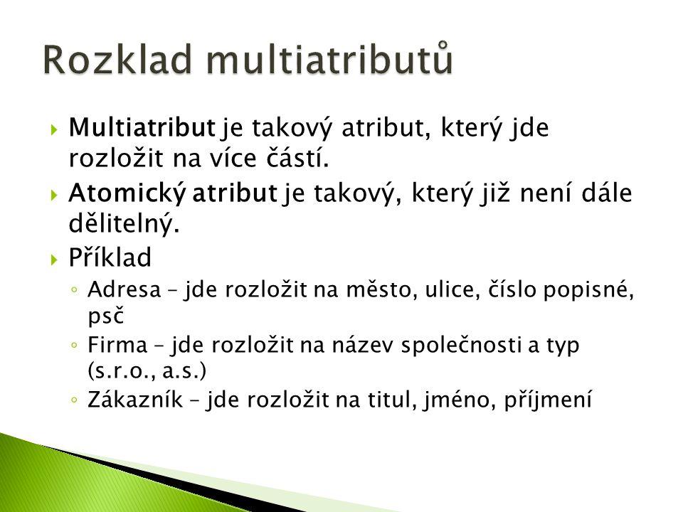  Multiatribut je takový atribut, který jde rozložit na více částí.