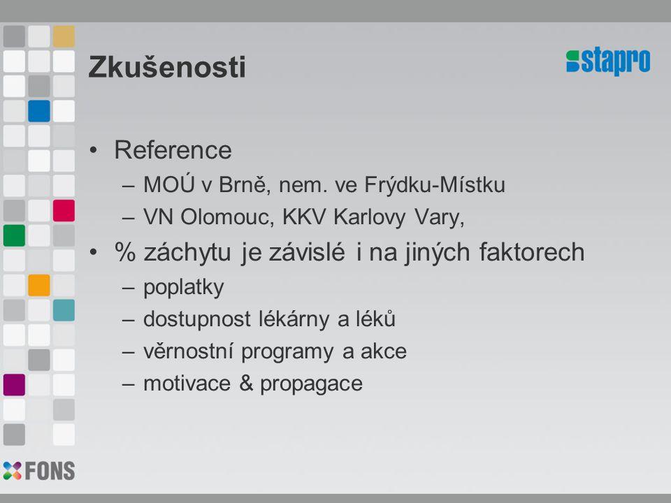 Zkušenosti Reference –MOÚ v Brně, nem. ve Frýdku-Místku –VN Olomouc, KKV Karlovy Vary, % záchytu je závislé i na jiných faktorech –poplatky –dostupnos