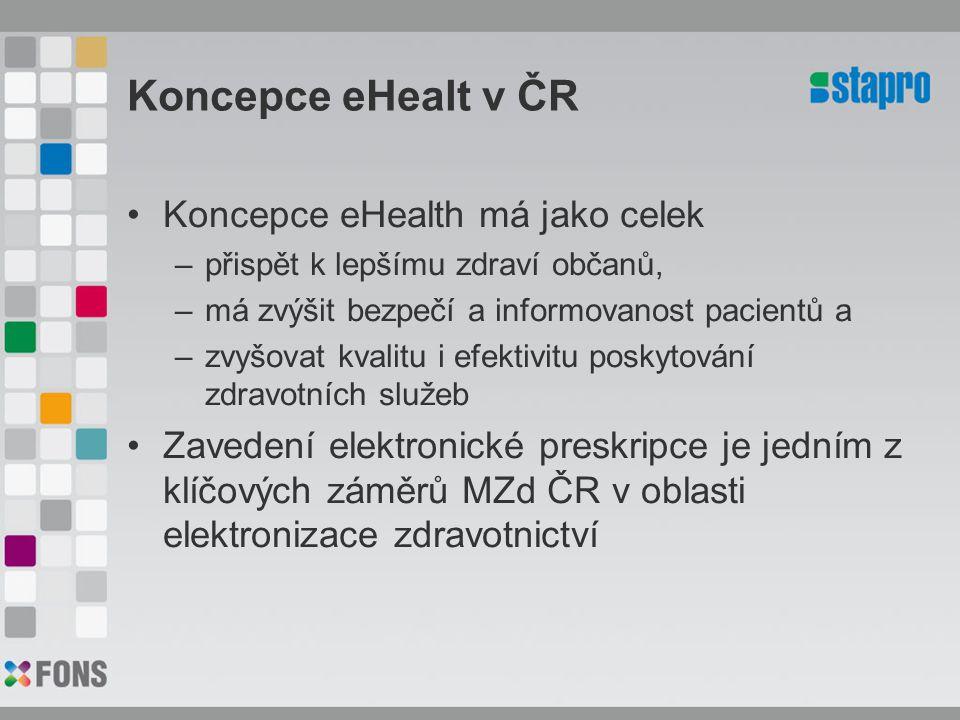 Koncepce eHealt v ČR Koncepce eHealth má jako celek –přispět k lepšímu zdraví občanů, –má zvýšit bezpečí a informovanost pacientů a –zvyšovat kvalitu