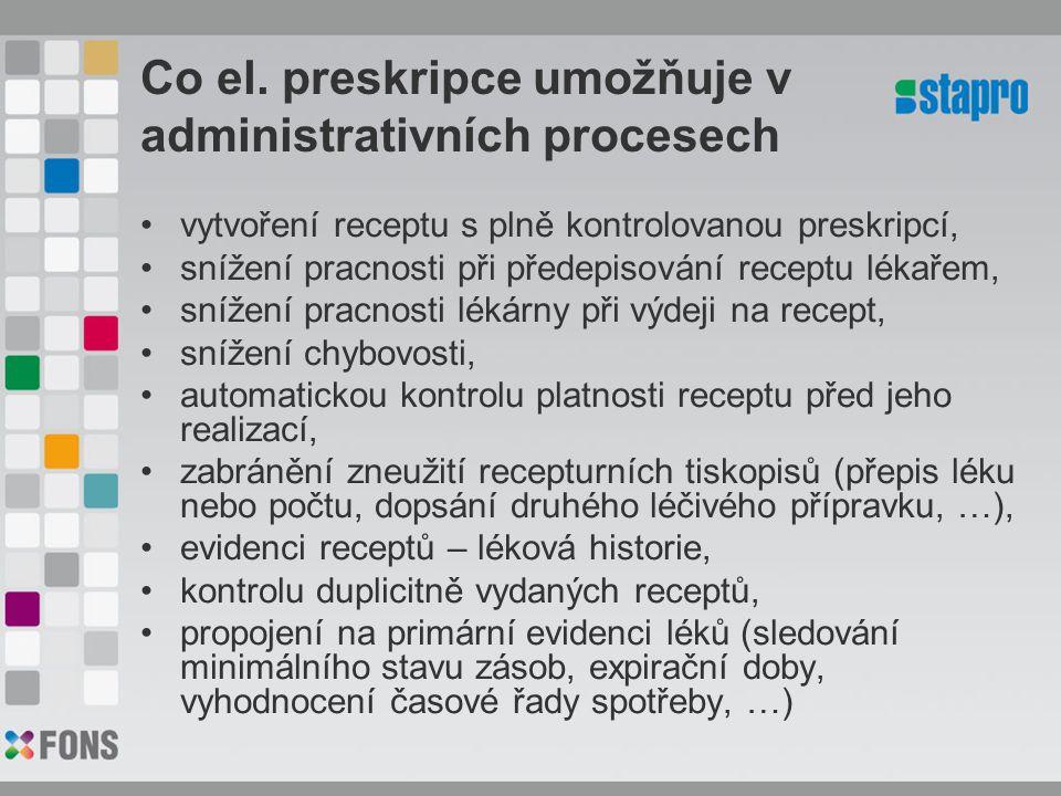 Co el. preskripce umožňuje v administrativních procesech vytvoření receptu s plně kontrolovanou preskripcí, snížení pracnosti při předepisování recept