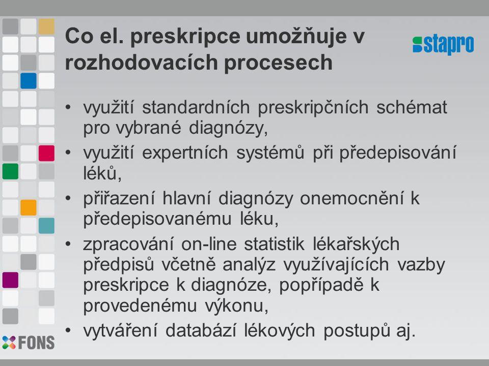 Co el. preskripce umožňuje v rozhodovacích procesech využití standardních preskripčních schémat pro vybrané diagnózy, využití expertních systémů při p