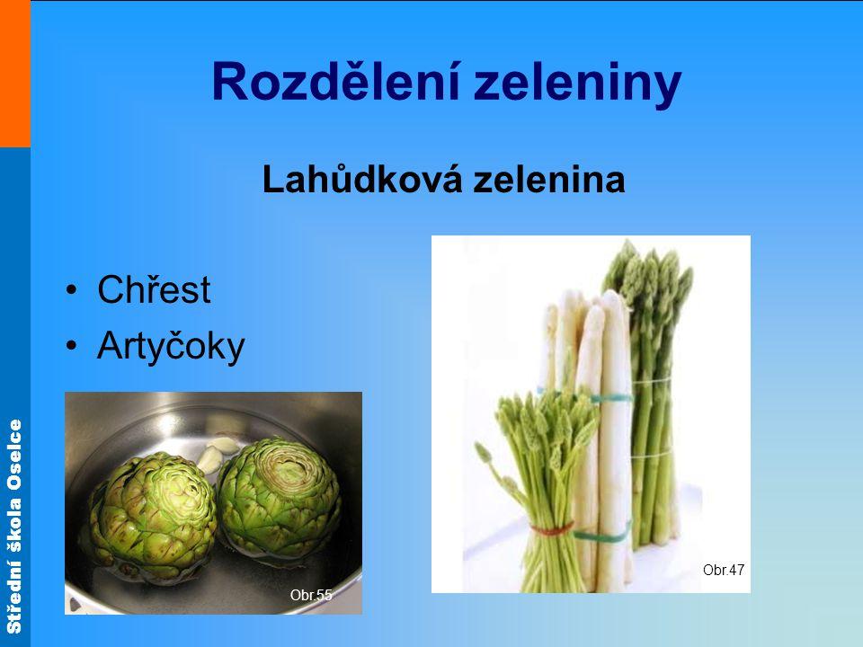 Střední škola Oselce Rozdělení zeleniny Lahůdková zelenina Chřest Artyčoky Obr.55 Obr.47