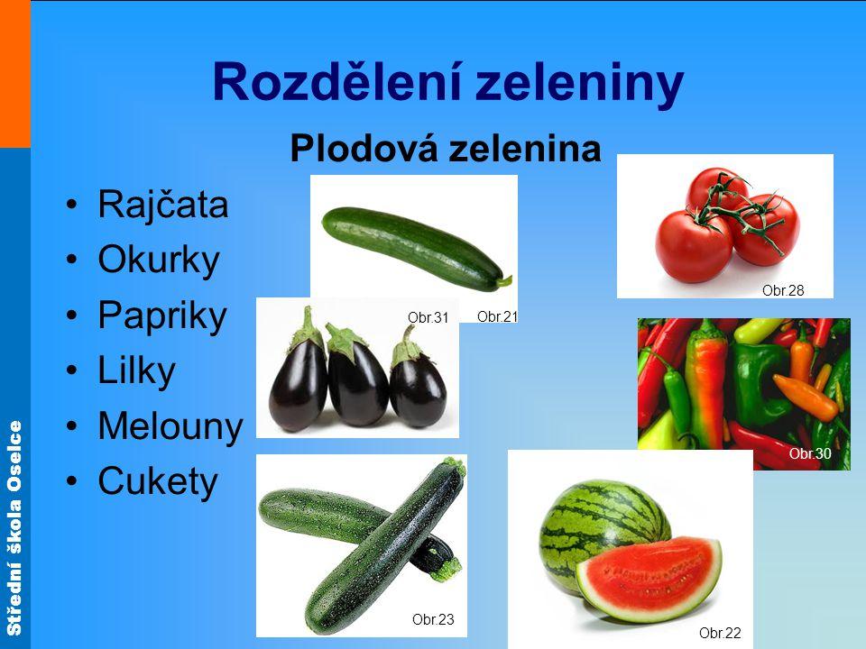 Střední škola Oselce Zeleninové mísy Kombinují se různé druhy zeleniny různé tvary různé barvy různé chuti Velikost – mísy (pro více osob) talíře (1 porce)