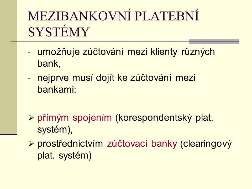 MEZIBANKOVNÍ PLATEBNÍ SYSTÉMY - umožňuje zúčtování mezi klienty různých bank, - nejprve musí dojít ke zúčtování mezi bankami:  přímým spojením (korespondentský plat.