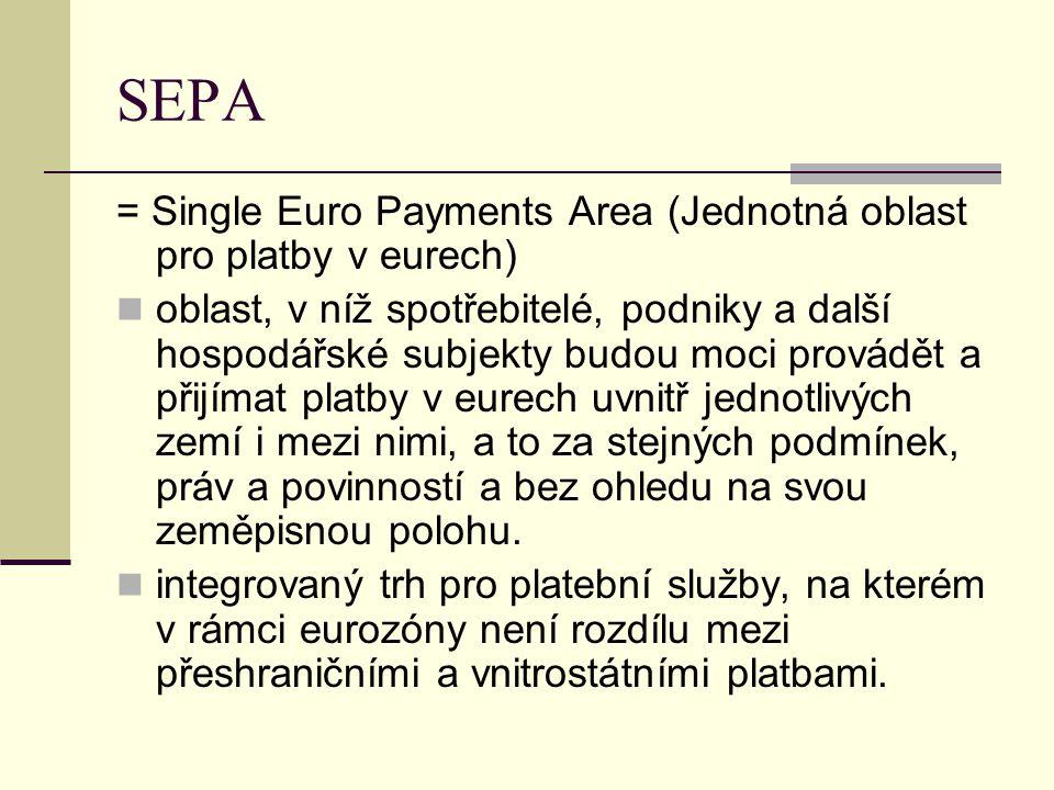 SEPA = Single Euro Payments Area (Jednotná oblast pro platby v eurech) oblast, v níž spotřebitelé, podniky a další hospodářské subjekty budou moci provádět a přijímat platby v eurech uvnitř jednotlivých zemí i mezi nimi, a to za stejných podmínek, práv a povinností a bez ohledu na svou zeměpisnou polohu.