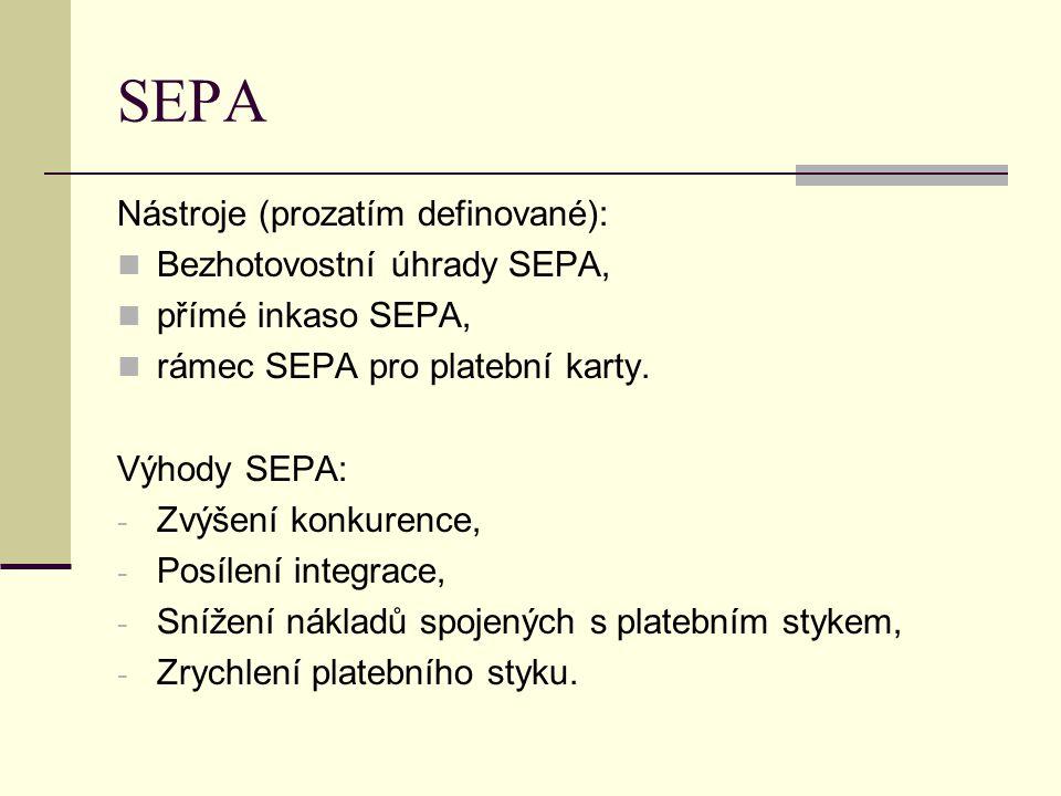 SEPA Nástroje (prozatím definované): Bezhotovostní úhrady SEPA, přímé inkaso SEPA, rámec SEPA pro platební karty. Výhody SEPA: - Zvýšení konkurence, -