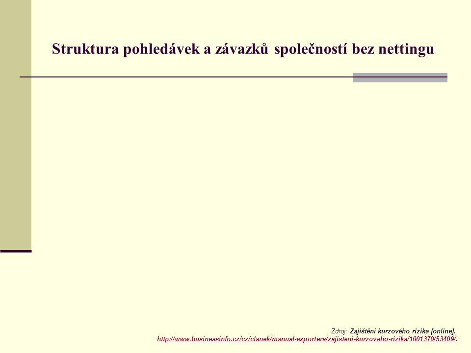 Struktura pohledávek a závazků společností bez nettingu Zdroj: Zajištění kurzového rizika [online].