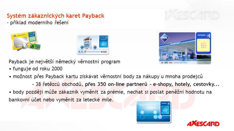 10 Systém zákaznických karet Payback - příklad moderního řešení Payback je největší německý věrnostní program funguje od roku 2000 možnost přes Paybac