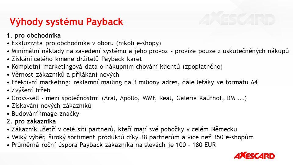 Výhody systému Payback 1. pro obchodníka Exkluzivita pro obchodníka v oboru (nikoli e-shopy) Minimální náklady na zavedení systému a jeho provoz - pro