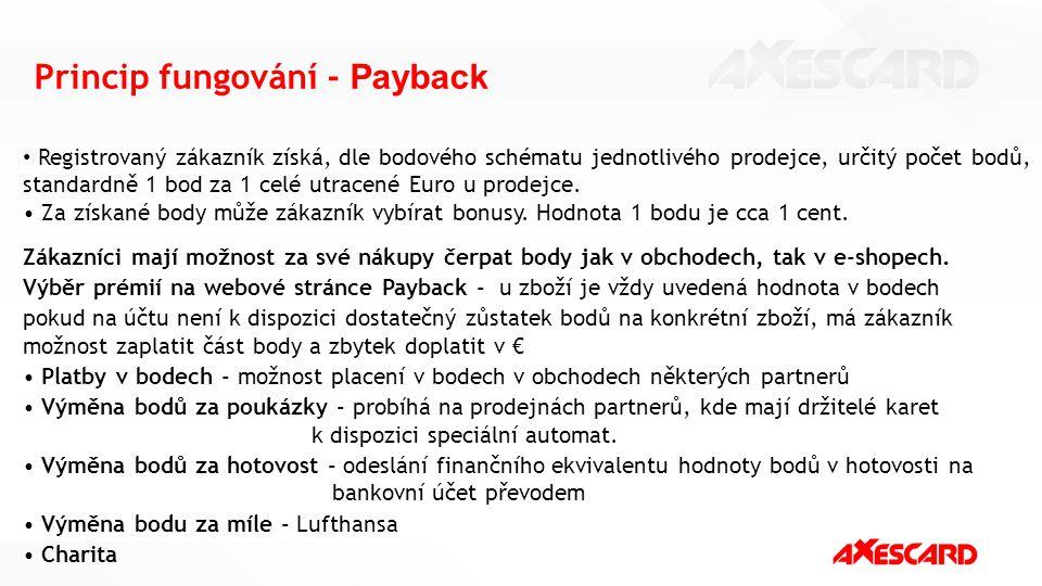 Princip fungování - Payback Registrovaný zákazník získá, dle bodového schématu jednotlivého prodejce, určitý počet bodů, standardně 1 bod za 1 celé ut