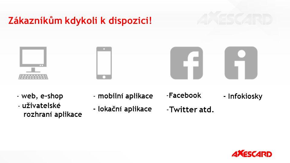 Zákazníkům kdykoli k dispozici! - mobilní aplikace - lokační aplikace - web, e-shop -Facebook -Twitter atd. - Infokiosky - uživatelské rozhraní aplika