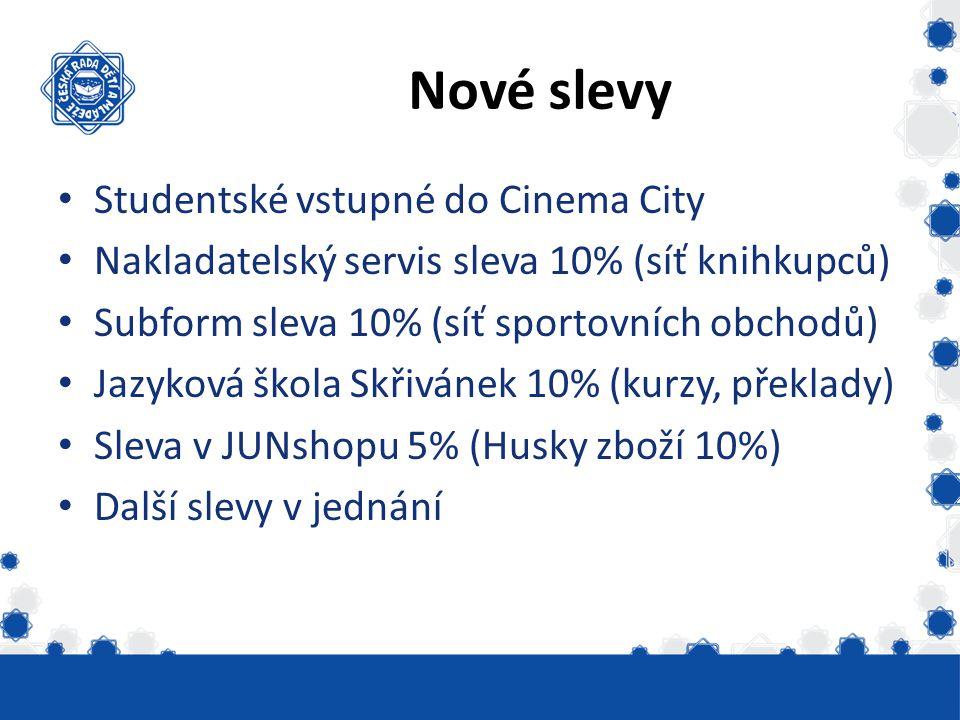 Nové slevy Studentské vstupné do Cinema City Nakladatelský servis sleva 10% (síť knihkupců) Subform sleva 10% (síť sportovních obchodů) Jazyková škola