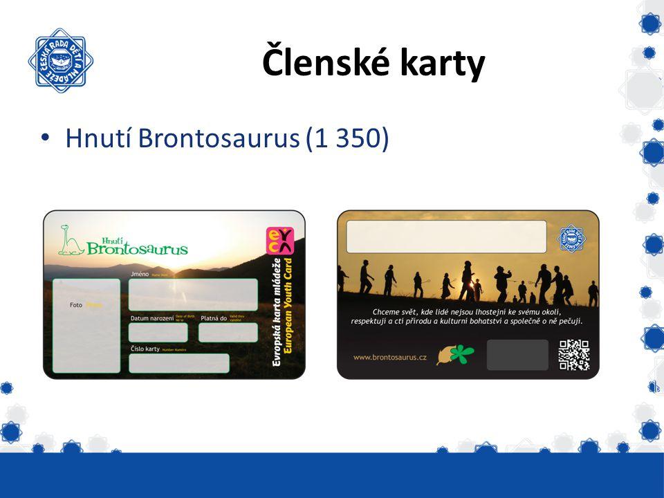 Členské karty Hnutí Brontosaurus (1 350)