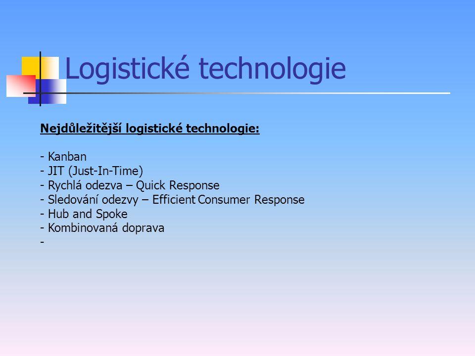 Logistické technologie Soubor metod, které slouží k tomu, aby logistický systém fungoval s co možná nejnižšími náklady při dosažení požadované výkonno