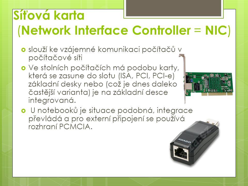 Síťové rozhraní  obvykle síťová karta, tedy aktivní zařízení, které přijímá a vysílá rámce (ethernetové rámce nebo jiné podle typu použité technologie).