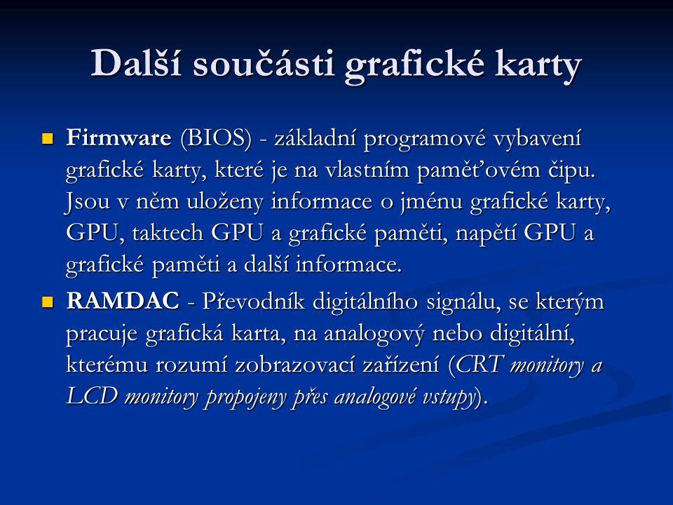 Další součásti grafické karty Firmware (BIOS) - základní programové vybavení grafické karty, které je na vlastním paměťovém čipu. Jsou v něm uloženy i