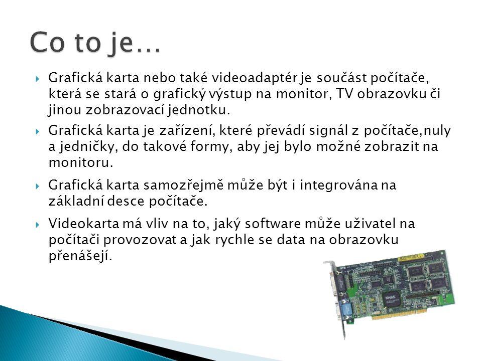  Grafická karta nebo také videoadaptér je součást počítače, která se stará o grafický výstup na monitor, TV obrazovku či jinou zobrazovací jednotku.