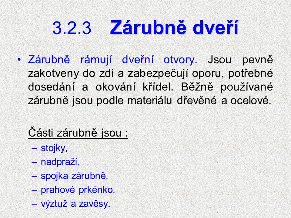 3.2.3Zárubně dveří Zárubně rámují dveřní otvory.