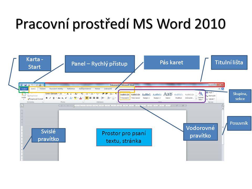 Pracovní prostředí MS Word 2010 Titulní lišta Panel – Rychlý přístup Karta - Start Pás karet Skupina, sekce Posuvník Prostor pro psaní textu, stránka