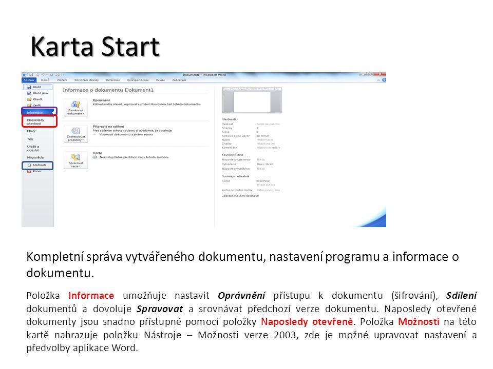 Nabídka Možnosti Zde se nastavuje uživatelské prostředí programu.