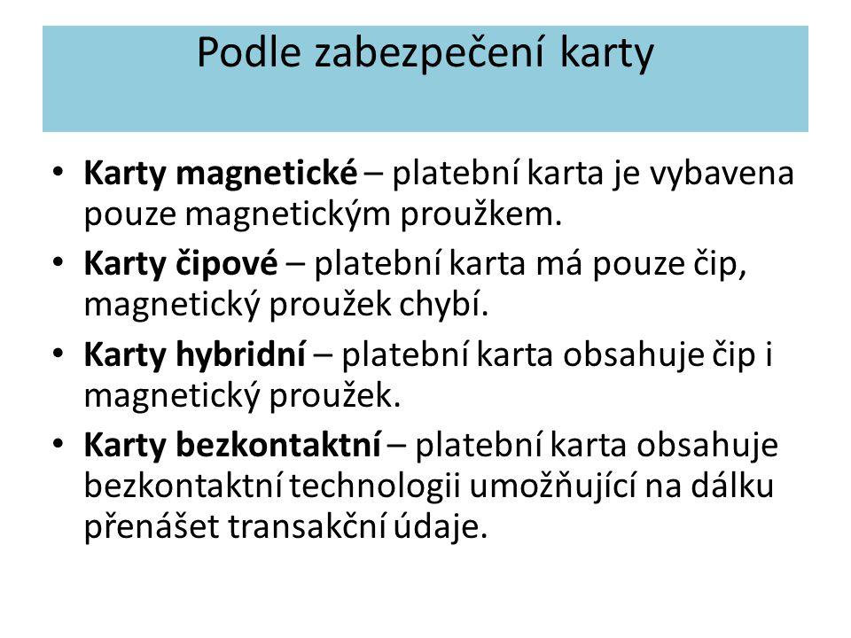 Podle zabezpečení karty Karty magnetické – platební karta je vybavena pouze magnetickým proužkem.