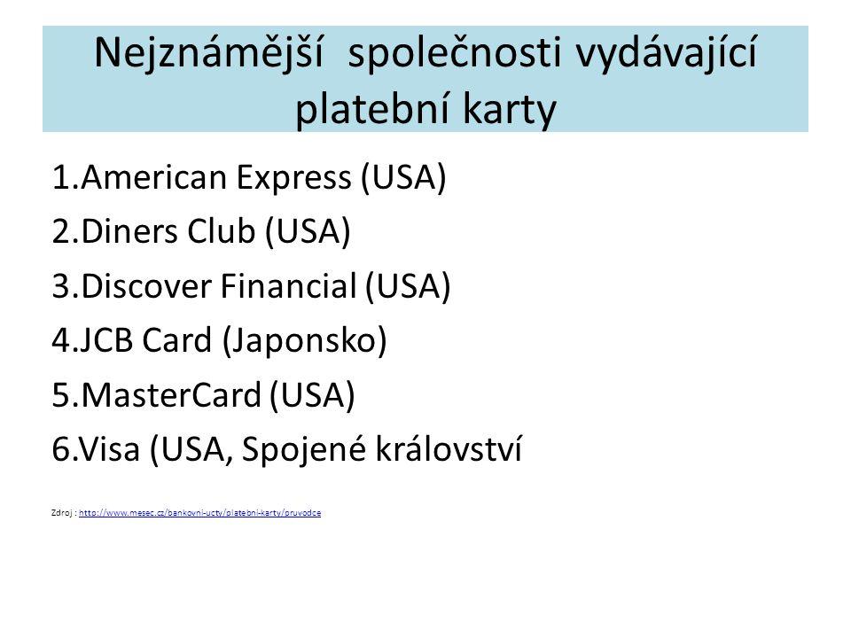 Nejznámější společnosti vydávající platební karty 1.American Express (USA) 2.Diners Club (USA) 3.Discover Financial (USA) 4.JCB Card (Japonsko) 5.MasterCard (USA) 6.Visa (USA, Spojené království Zdroj : http://www.mesec.cz/bankovni-ucty/platebni-karty/pruvodcehttp://www.mesec.cz/bankovni-ucty/platebni-karty/pruvodce