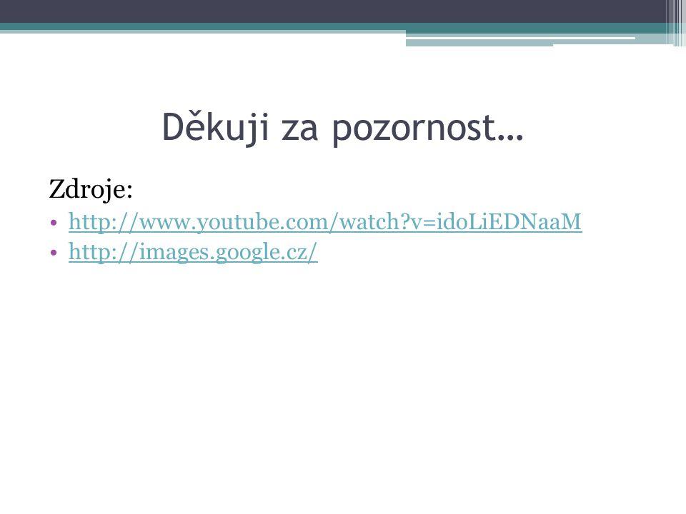 Děkuji za pozornost… Zdroje: http://www.youtube.com/watch v=idoLiEDNaaM http://images.google.cz/