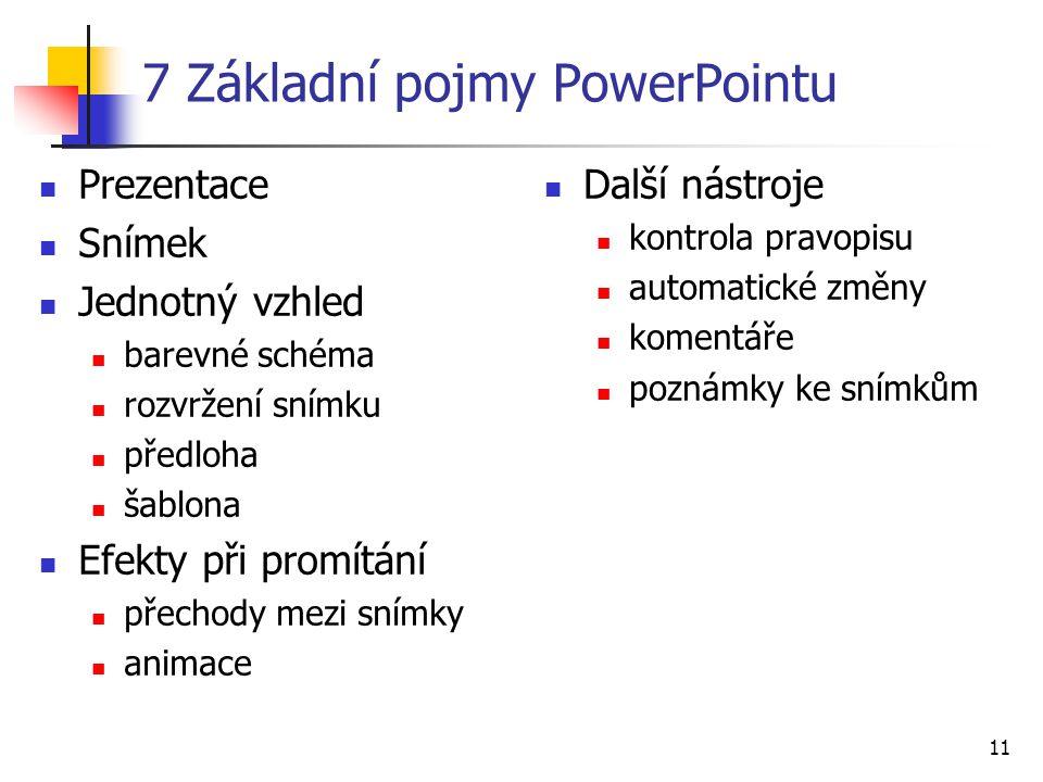 11 7 Základní pojmy PowerPointu Prezentace Snímek Jednotný vzhled barevné schéma rozvržení snímku předloha šablona Efekty při promítání přechody mezi
