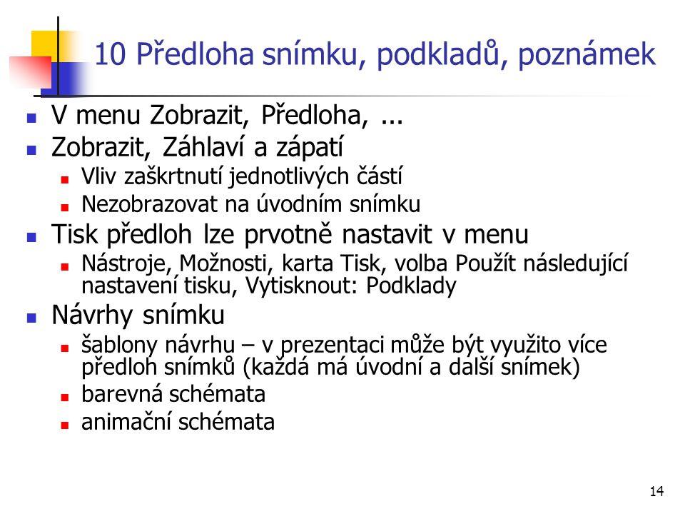 14 10 Předloha snímku, podkladů, poznámek V menu Zobrazit, Předloha,... Zobrazit, Záhlaví a zápatí Vliv zaškrtnutí jednotlivých částí Nezobrazovat na
