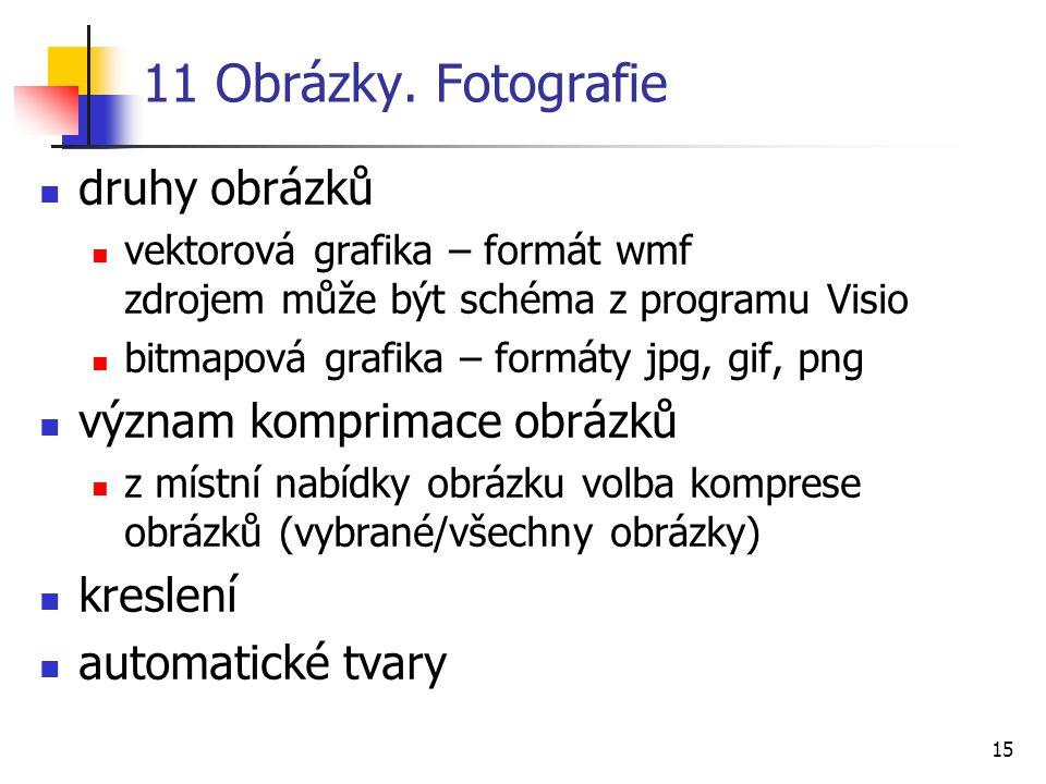 15 11 Obrázky. Fotografie druhy obrázků vektorová grafika – formát wmf zdrojem může být schéma z programu Visio bitmapová grafika – formáty jpg, gif,