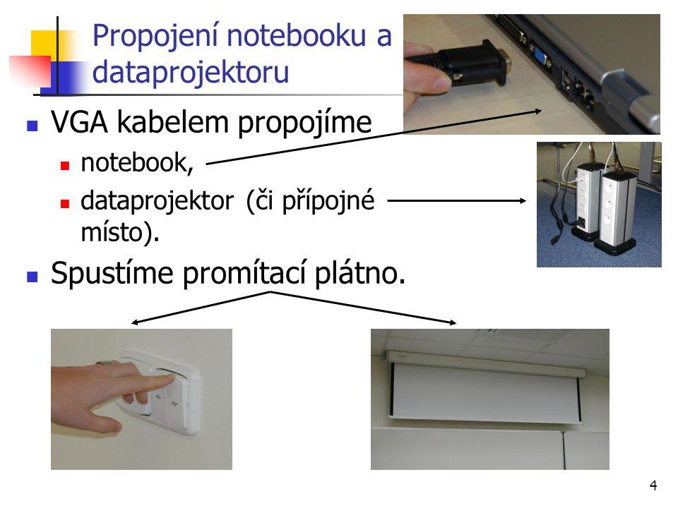 4 Propojení notebooku a dataprojektoru VGA kabelem propojíme notebook, dataprojektor (či přípojné místo). Spustíme promítací plátno.