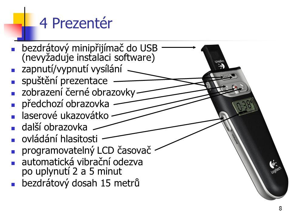 8 4 Prezentér bezdrátový minipřijímač do USB (nevyžaduje instalaci software) zapnutí/vypnutí vysílání spuštění prezentace zobrazení černé obrazovky př